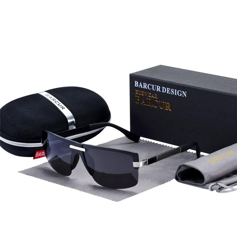 BARCUR HD Polarized Sunglasses Rimless Men Sunglasses Luxury Brand BC5010 Sunglasses for Men