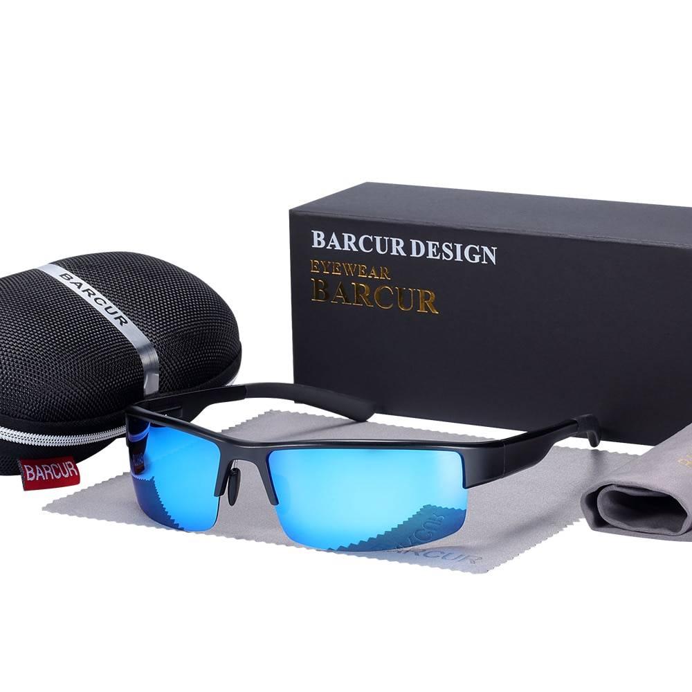 BARCUR Semi Rimless Polarized Aluminium Magnesium Sunglasses Sport BC8008 Sunglasses for Men Aluminium Sunglasses Sunglasses for Women