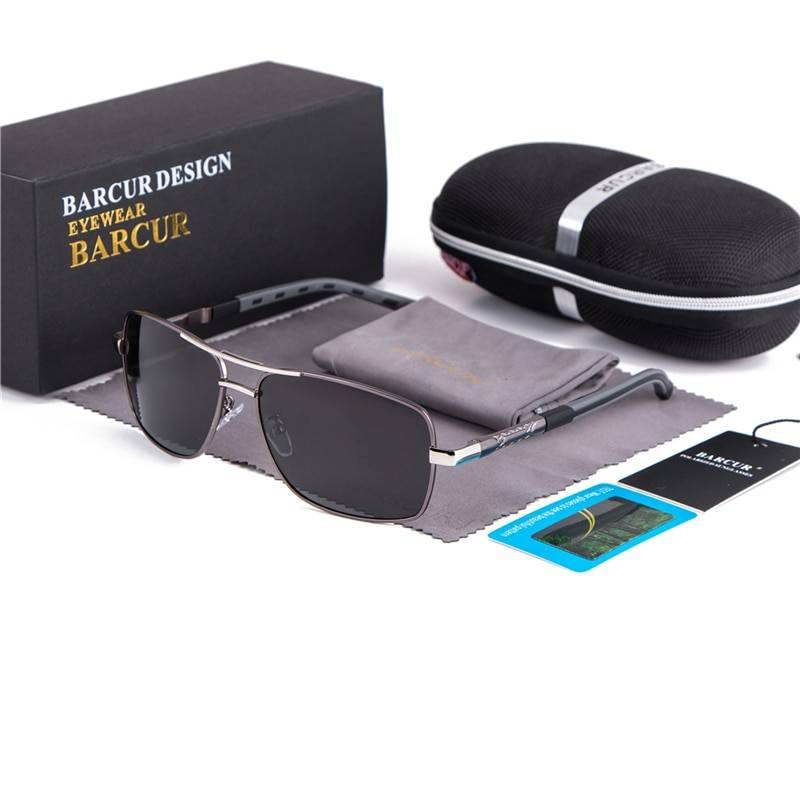 BARCUR Rectangle Polarized Sunglasses Driving Glasses Men Sunglasses Colored Lenses for Eyes Vintage 888888 Sunglasses for Men