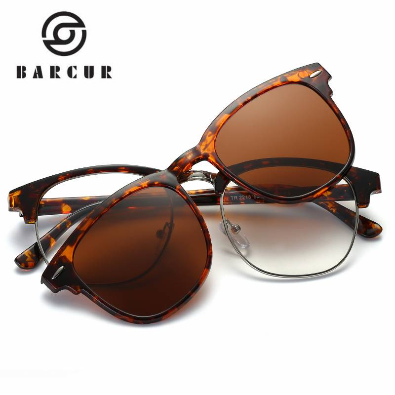 BARCUR TR90 Sunglasses Clip Magnetic Sunglasses Frame With Clip Include Frame Polarized Clip on Sunglass BC2218 Sunglasses for Men