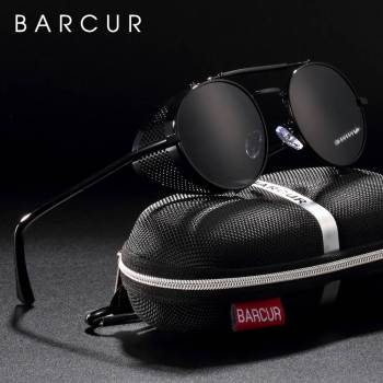 BARCUR Polarized Steampunk Round Sunglasses Men Retro Women Vintage Style BC8375 Sunglasses for Men Round Series Sunglasses Sunglasses for Women