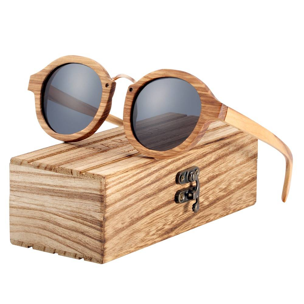 BARCUR Polarized Sunglasses Wood Round Men Women BC7104 Sunglasses for Men Sunglasses for Women Wooden Sunglasses