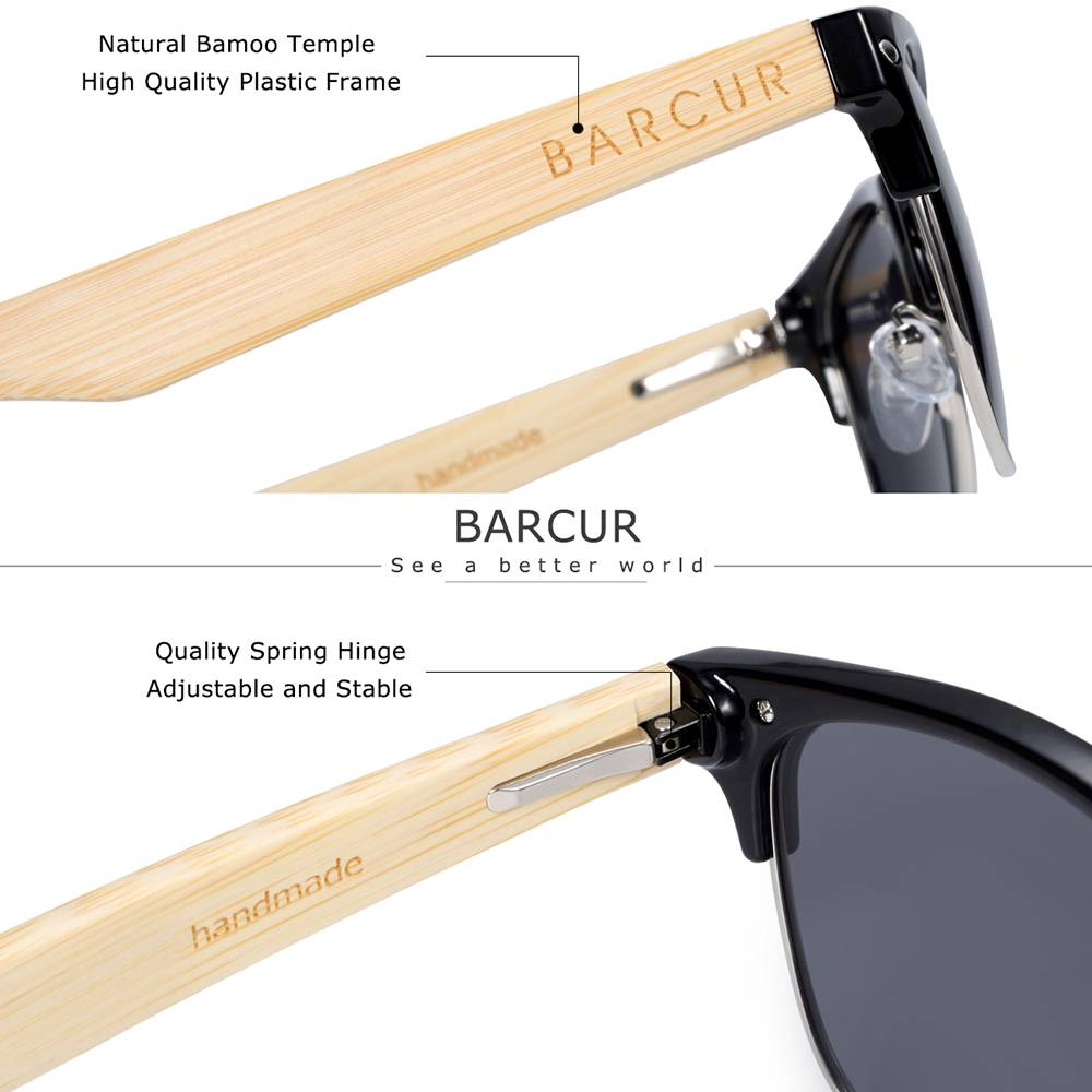 BARCUR Brand Bamboo Polarized Sunglasses Wood Men Women UV400 Protection BC4000 Sunglasses for Men Sunglasses for Women Wooden Sunglasses