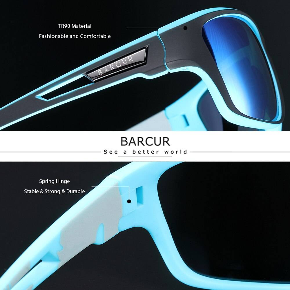 BARCUR Sport TR90 Sunglasses Driving Men Polarized Women Fashion UV400 Sunglasses for Men TR90 Material Sunglasses