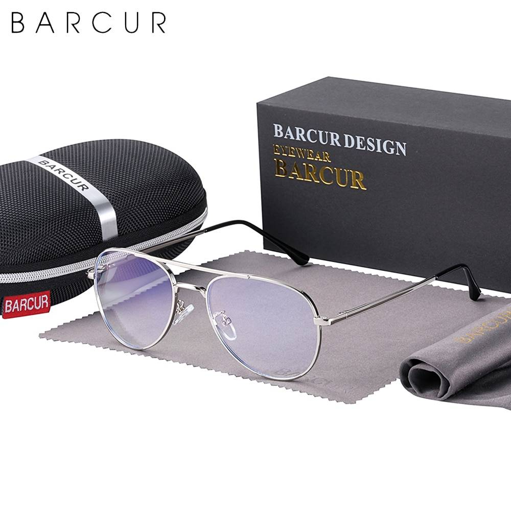 BARCUR Vintage Blue Light Blocking Glass Frame Men Women Optical Reading Computer TV Protection Anti Blue Ray Glasses