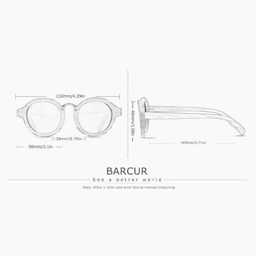 BARCUR - Γυαλιά Ηλίου Zebrawood Clubmaster Style με Grey Polarized Φακό (8101)