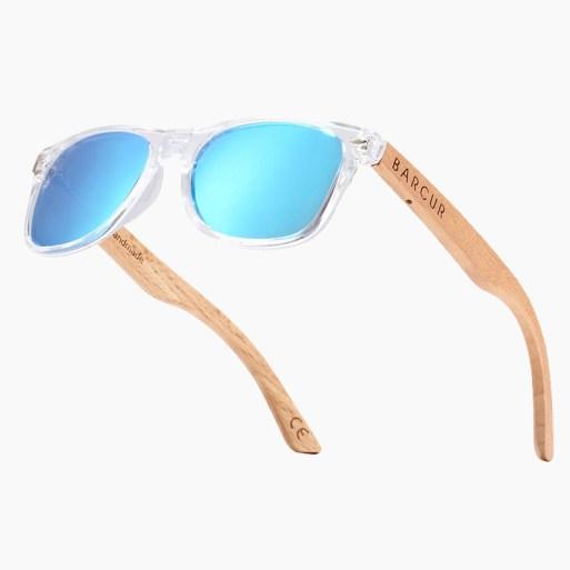 BARCUR - Γυαλιά Ηλίου Παιδικά Bamboo Wayfarer Style Crystal με Sky Blue Polarized Φακό (300)