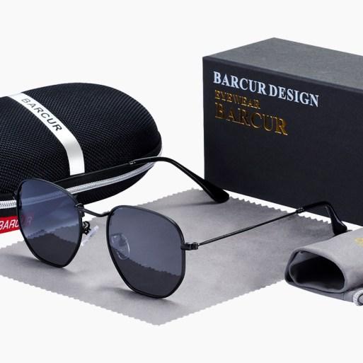 BARCUR - Γυαλιά Ηλίου Hexagon Stainless Black Σκελετός & Black Φακός Polarized (3548)