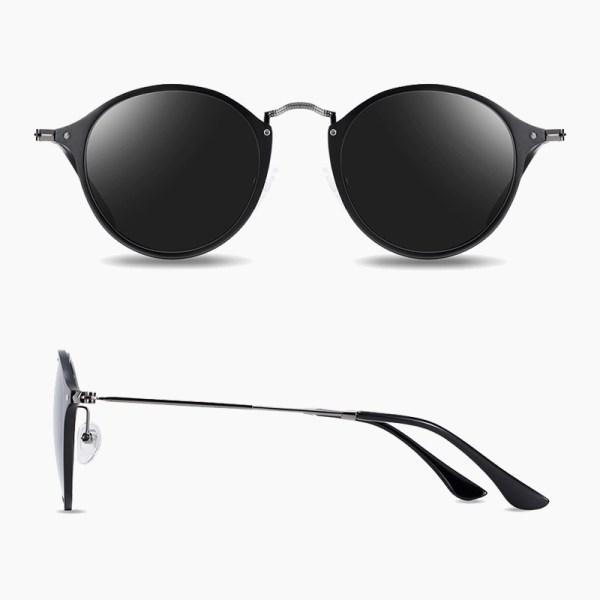 BARCUR - Γυαλιά Ηλίου Round Stainless Black Σκελετός & Black Φακός Polarized (8575)