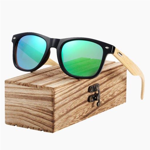 BARCUR - Γυαλιά Ηλίου Bamboo Wayfarer Style Μαύρα με Chameleon Polarized Φακό (4175)