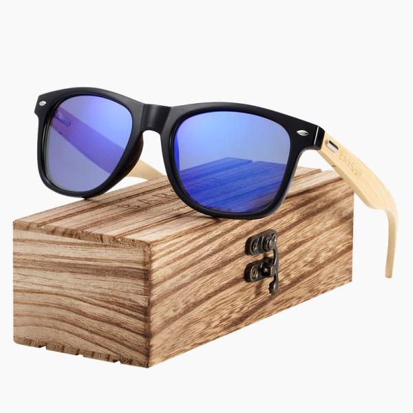 BARCUR - Γυαλιά Ηλίου Bamboo Wayfarer Style Μαύρα με Dark Blue Polarized Φακό (4175)