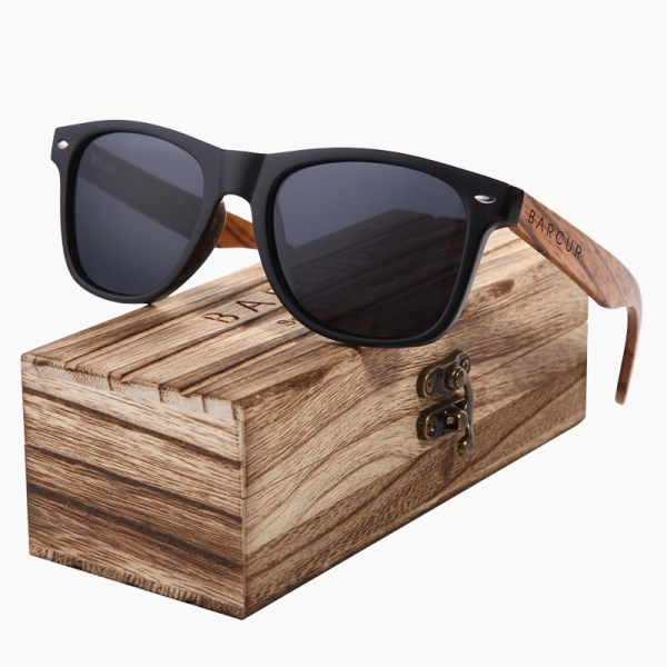 BARCUR - Γυαλιά Ηλίου Bamboo Zebrawood Wayfarer Style Μαύρα με Black Polarized Φακό (8720)