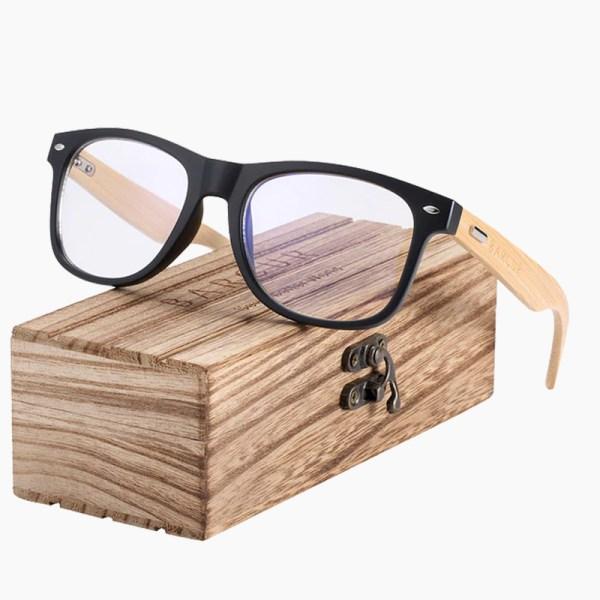 BARCUR - Γυαλιά Anti-Blue Ray Bamboo Wayfarer Style Matte Μαύρα (4175)