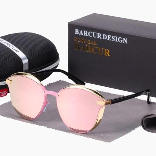 BARCUR - Γυαλιά Ηλίου Lifestyle Gold/Black Σκελετός & Rose Φακός Polarized (8705)