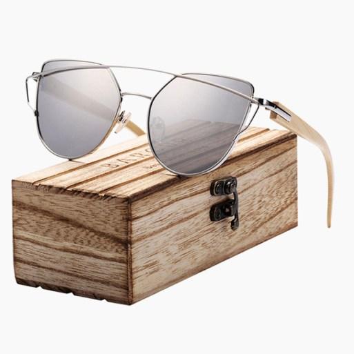 BARCUR - Γυαλιά Ηλίου Bamboo Cat Eye Style με Silver Polarized Φακό (2041)