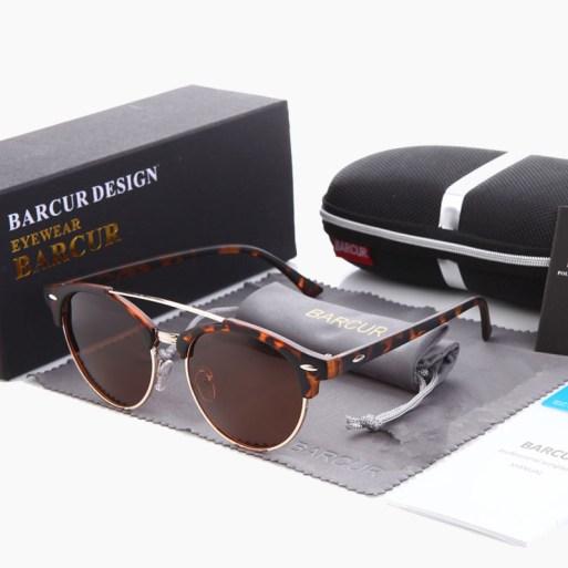 BARCUR - Γυαλιά Ηλίου Clubmaster Style Ταρταρούγα Σκελετό με Καφέ Polarized Φακό (4346)