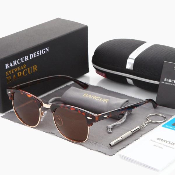BARCUR - Γυαλιά Ηλίου Clubmaster Style Ταρταρούγα Σκελετό με Καφέ Polarized Φακό (3016)