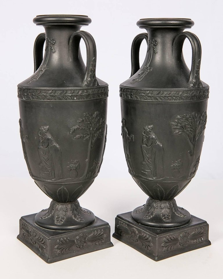 Antique Wedgwood Black Basalt Vases Wedgwood Black Basalt At