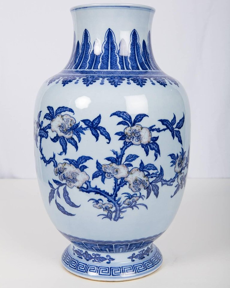 Large Chinese Blue And White Vase With Copper Red Decoration