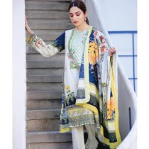 3 PC Digital Printed Embroidered Fine Lawn