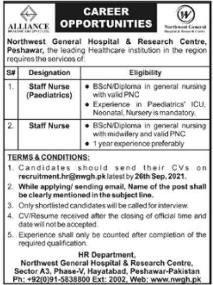 Northwest General Hospital & Research Centre Peshawar Jobs September 2021