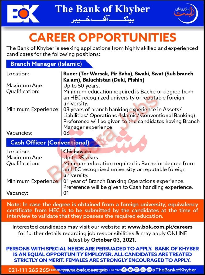 The Bank of Khyber Jobs September 2021