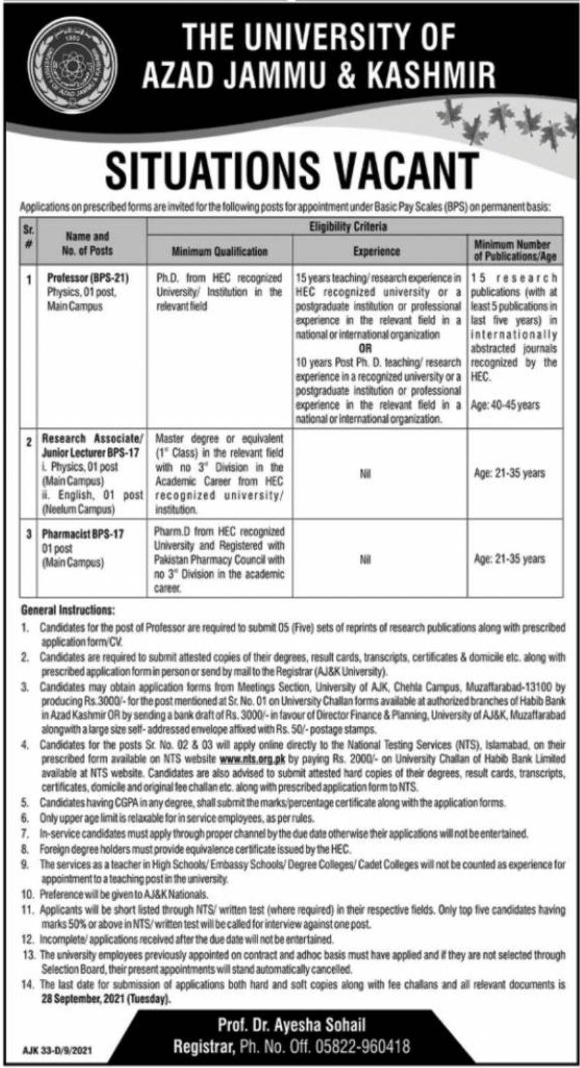 The University of Azad Jammu & Kashmir Jobs September 2021