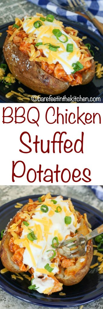 BBQ Chicken Potatoes are a HUGE favorite! get the recipe at barefeetinthekitchen.com