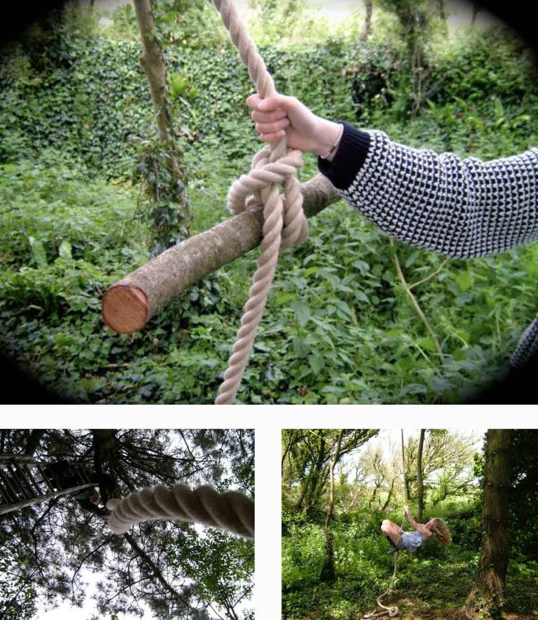 girl swinging on the rope swing in the woods at barefoot glamping Cornwall