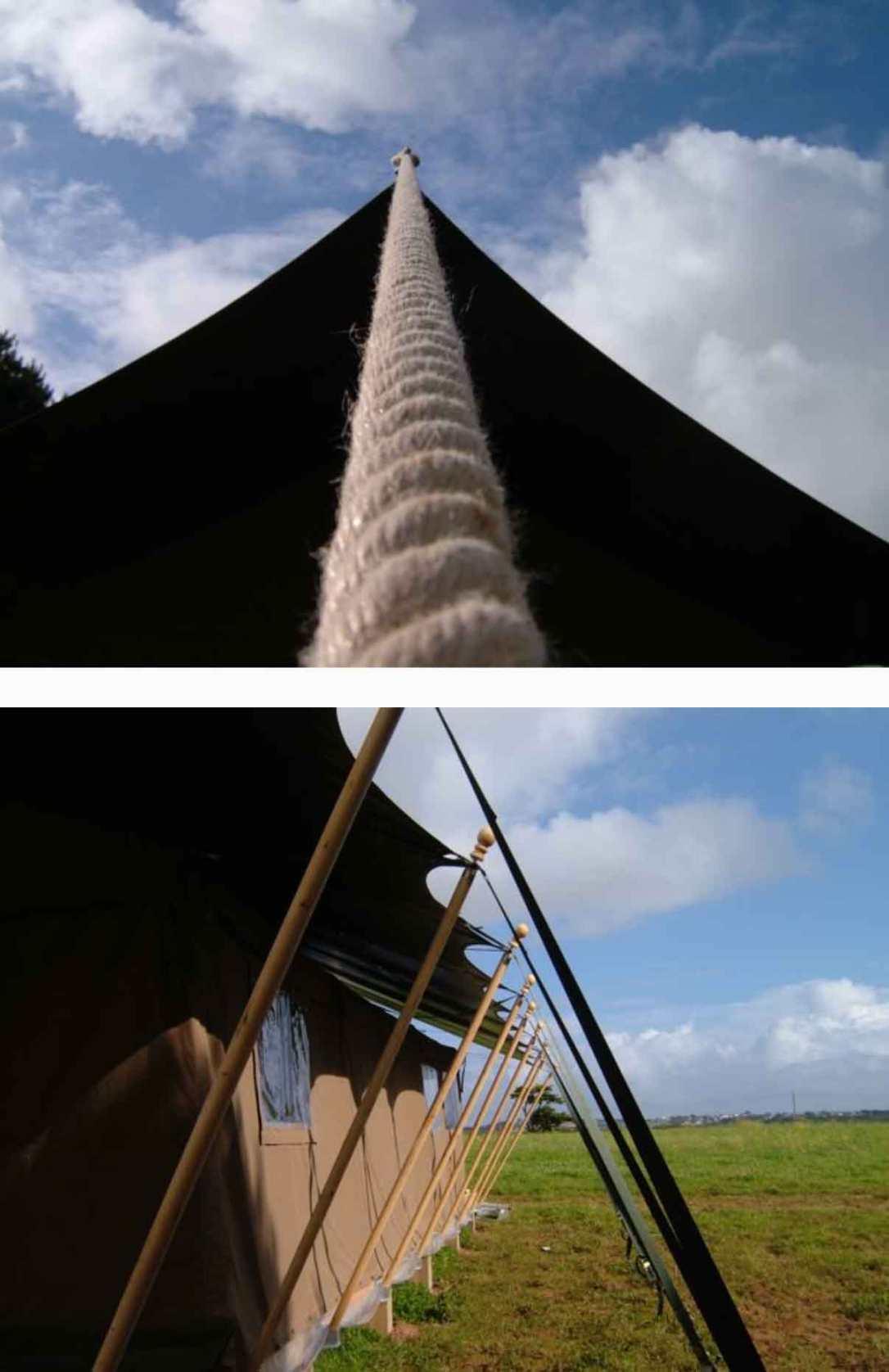 looking up at the safari tent fly sheet and tent poles at barefoot glamping Cornwall
