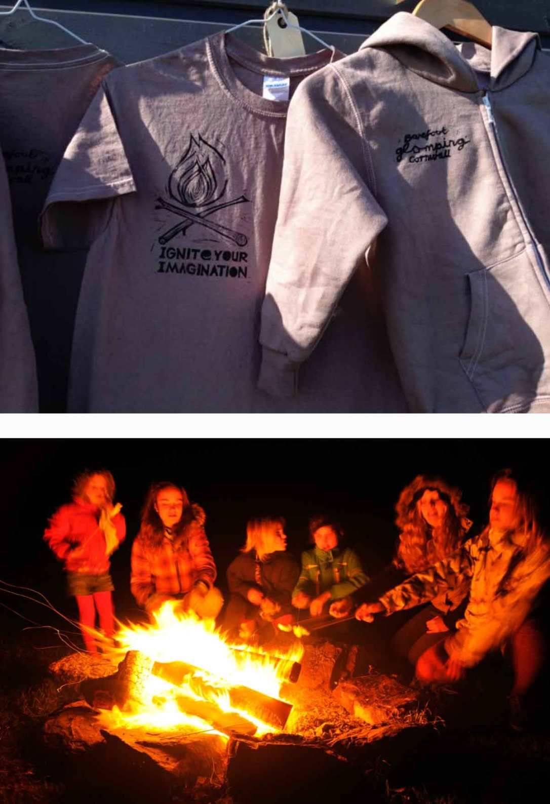 barefoot glamping ignite your imagination t-shirts and kids around the fire pit in Cornwall