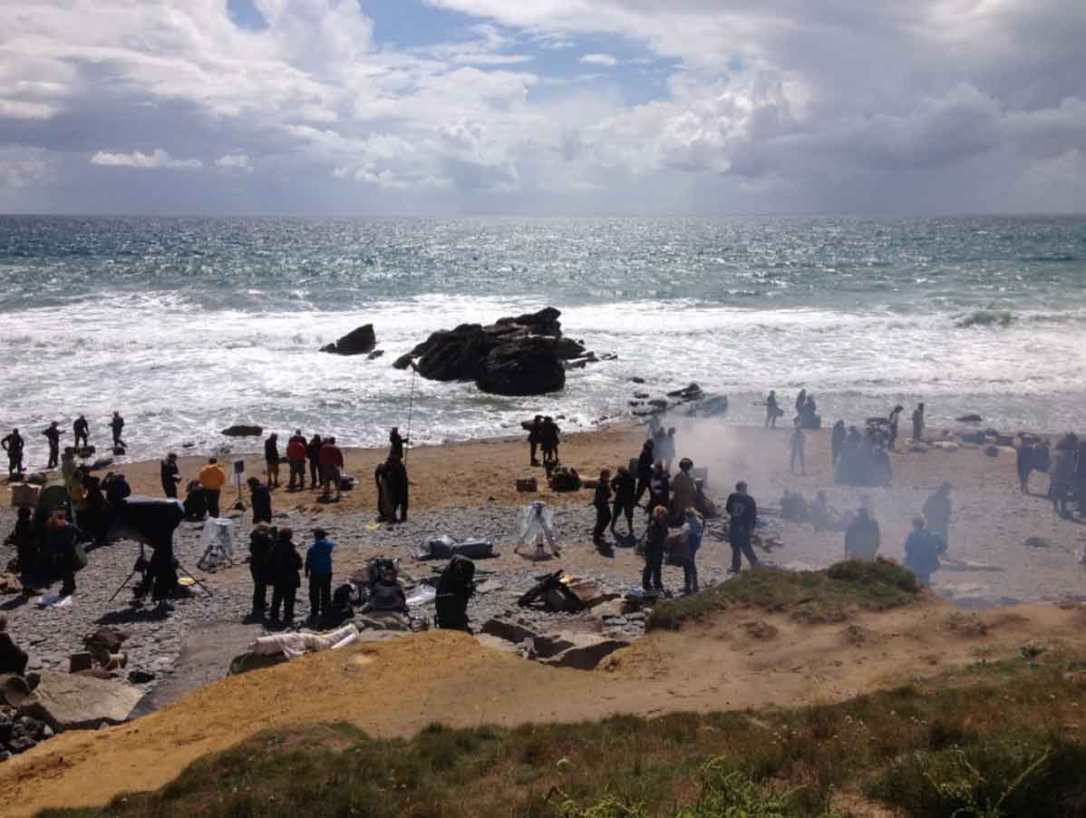 Poldark filming on nearby dollar cove Cornwall
