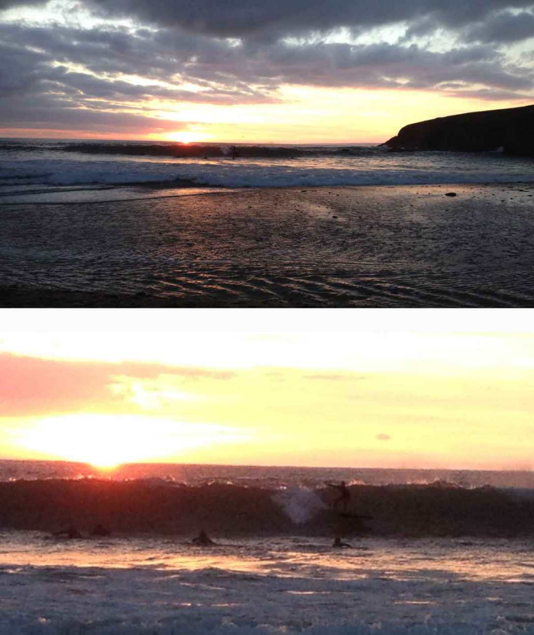 sunset surfers at poldhu cove beach Cornwall
