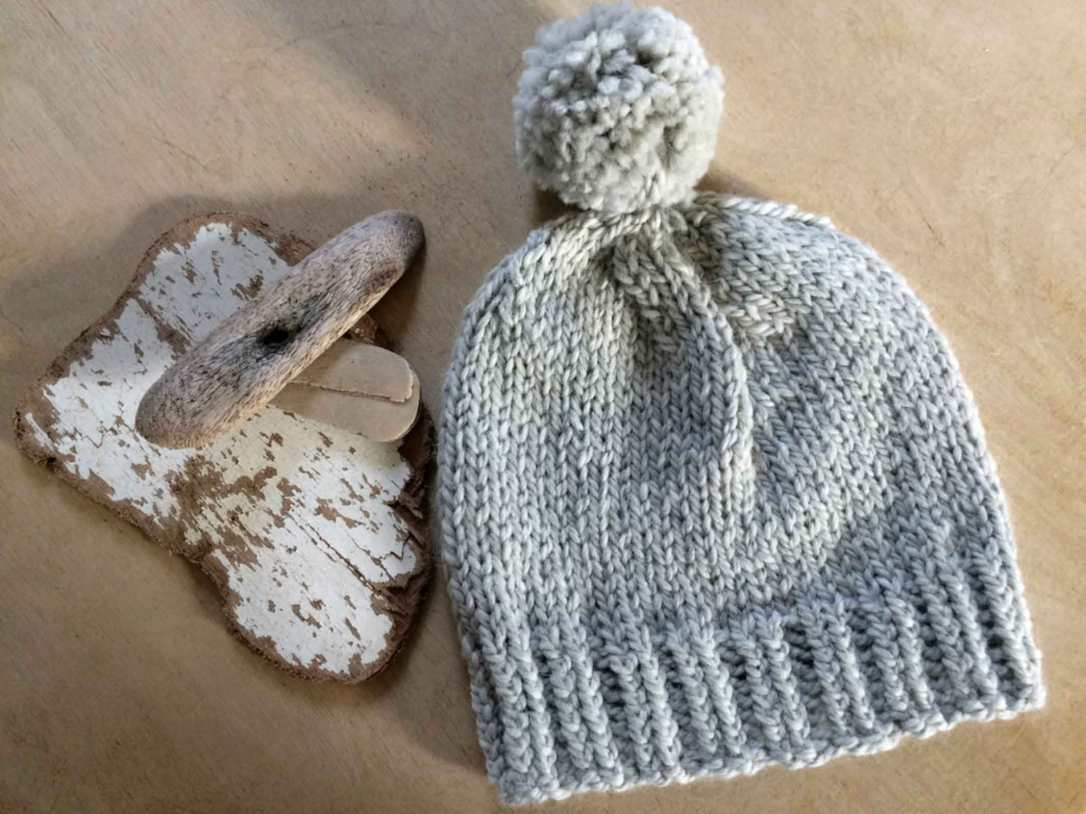 hand knitted alpaca beanie hat with pom driftwood grey