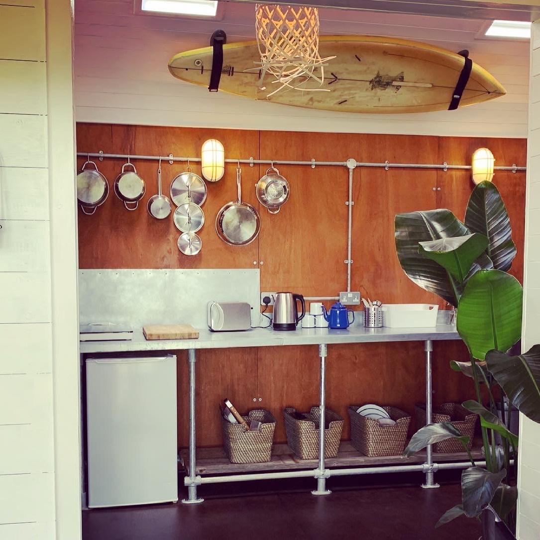 kitchen in the surf cabin