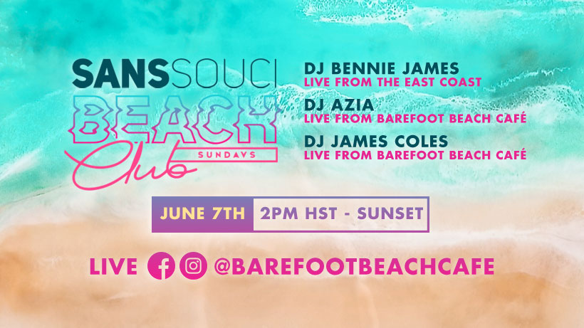 Sans Souci Beach Club On Facebook Live (Sundays)