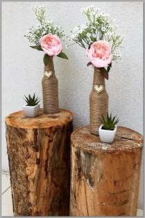 Jute string vase & succulents for aisle decor - timber log for display only.