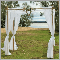 Wedding arbour with shell heart decor - Noosa North Shore