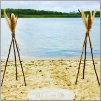 Wedding - rustic teepee styled with pampas grass. Chambers Island, Sunshine Coast.