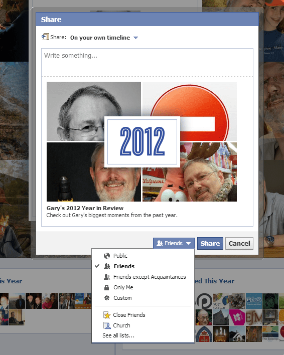 Facebook 2012 Your Year in Review page Cover image