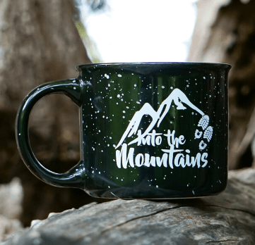 Into the Mountains Camping Mug Home Page