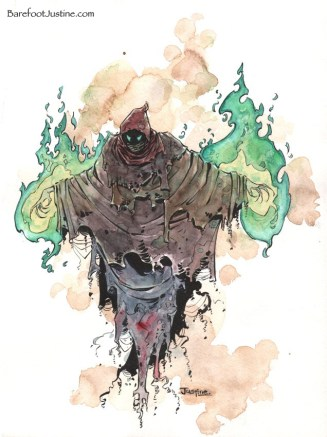 "(Barefoot) Justine Mara Andersen: illustration for WOTC (""Creatures Of Shanara"")"