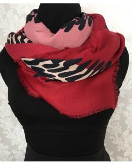 Skjerf multifarget rødt, svart og rosa