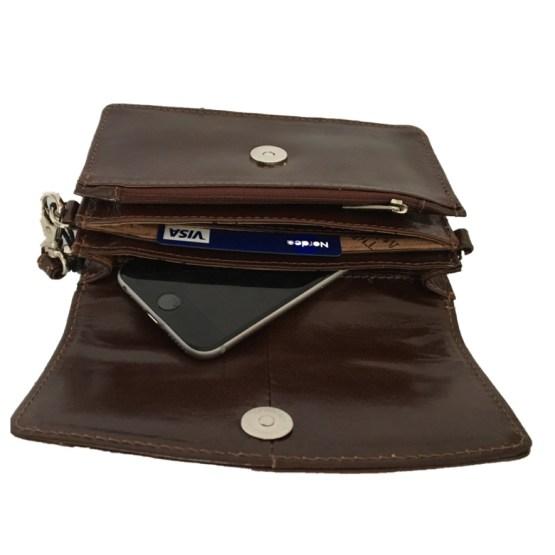 Liten skulderveske/ lommebok brun, innvendig