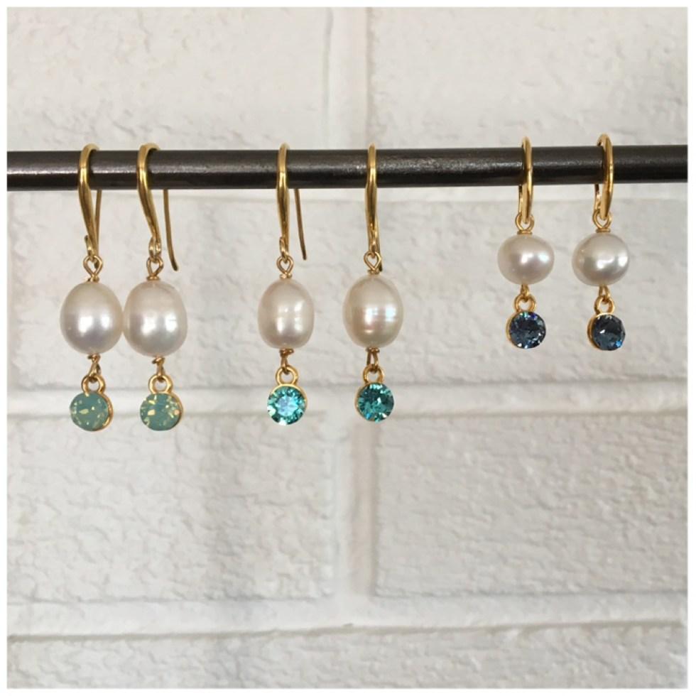 Øredobber med perle og Swarovski-krystaller