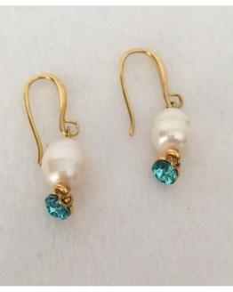 Øredobber med perle og turkis Swarovski-krystaller