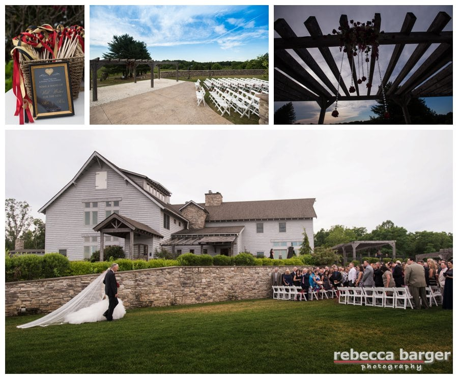 A dramatic and lovely entrance Ali made during the processional of her wedding ceremony at Laurita Winery, planning / decor by Proud To Plan.