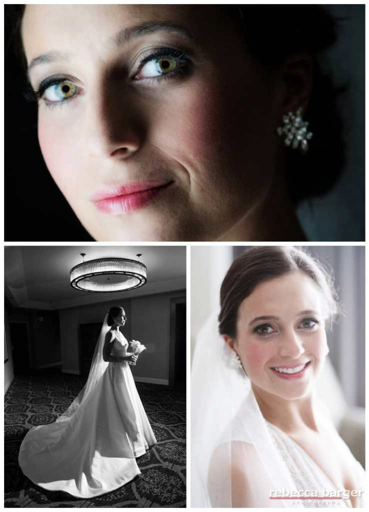 Green eye'd Holly, cosmetics by Beke Beau, gown by Monique Lhuillier from The Wedding Shoppe in Wayne.