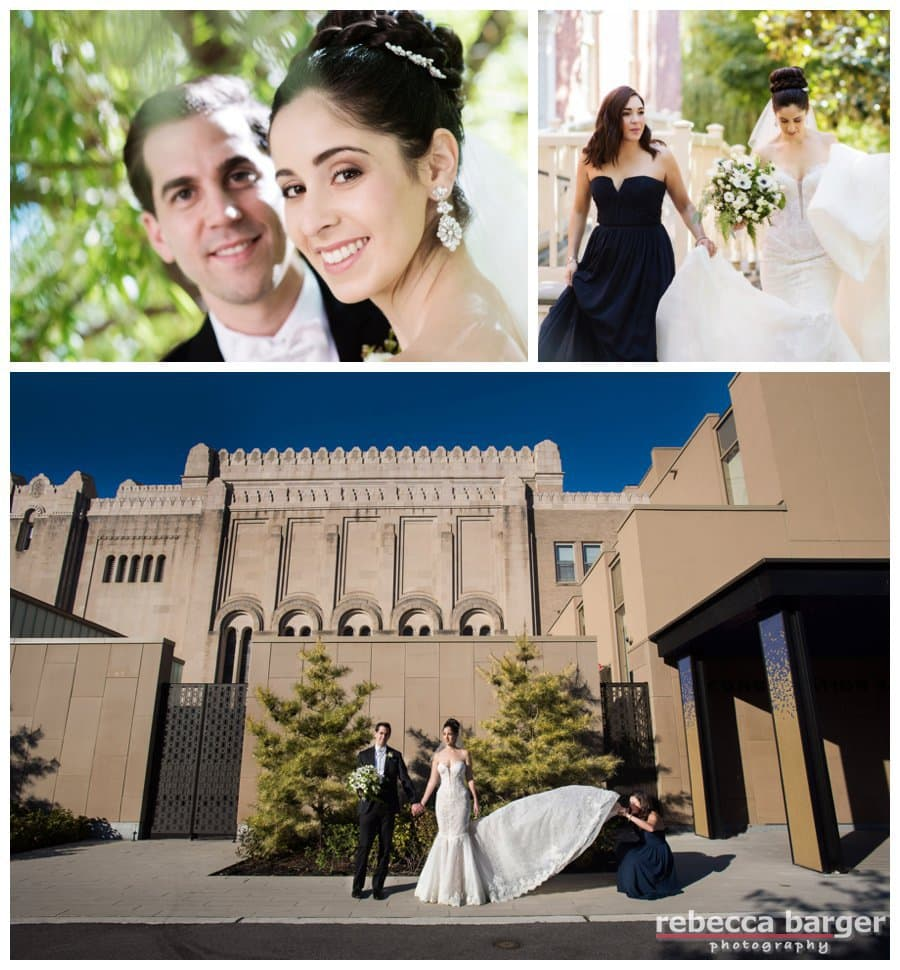 Shown is the modern style addition at Rodeph Shalom, lots of wedding photo possibilities.