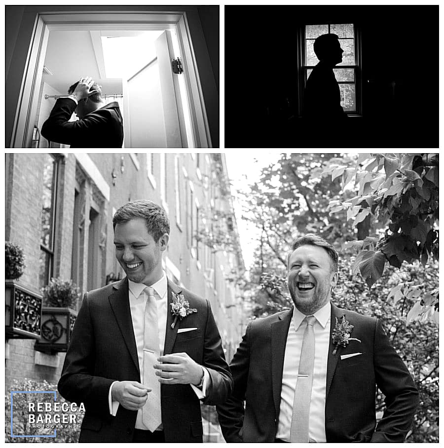 Jimmy shares a laugh with his groomsman who is also the efficient.